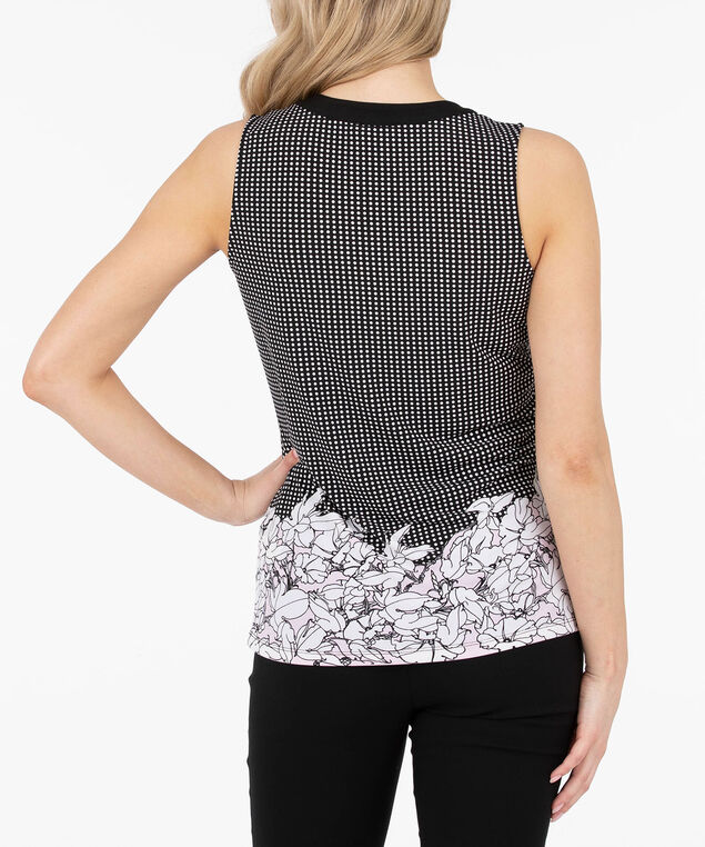 Sleeveless Button Front Henley Top, Black/Pearl/Cameo Pink, hi-res