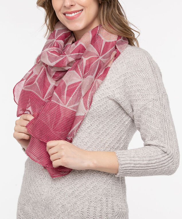 Geo Print Oblong Scarf, Dusty Blush/Strawberry, hi-res