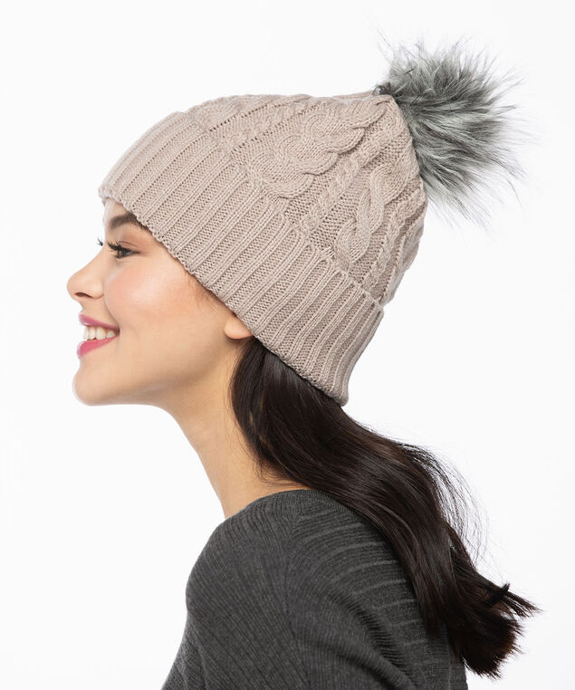 Chunky Cable Knit Toque, Oatmeal/Grey, hi-res