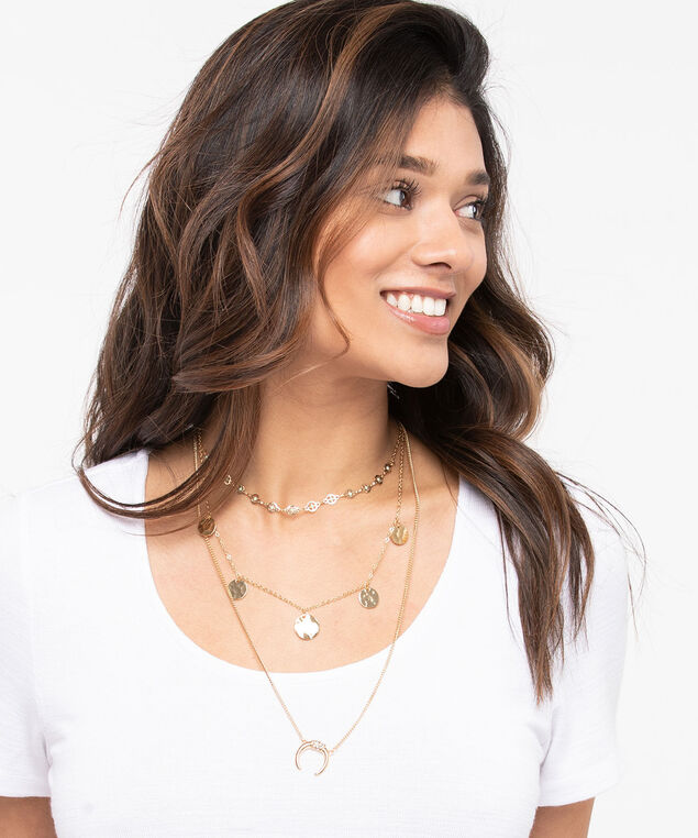 Coin & Half Moon Layered Necklace, Gold, hi-res
