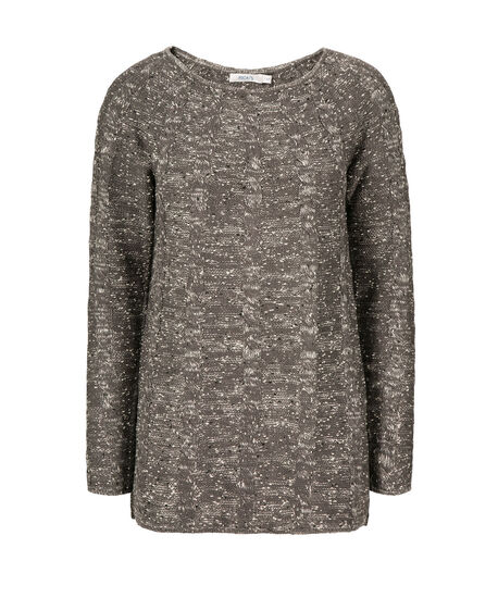 Cable Front Pullover, Charcoal Mix, hi-res