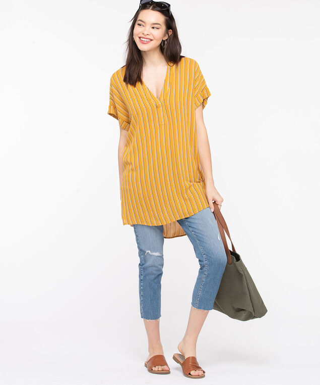 Striped V-Neck Tunic Blouse, Mustard/Black/Pearl, hi-res