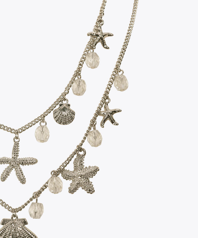 Starfish & Shell Charm Necklace, Rhodium/Clear Crystal, hi-res
