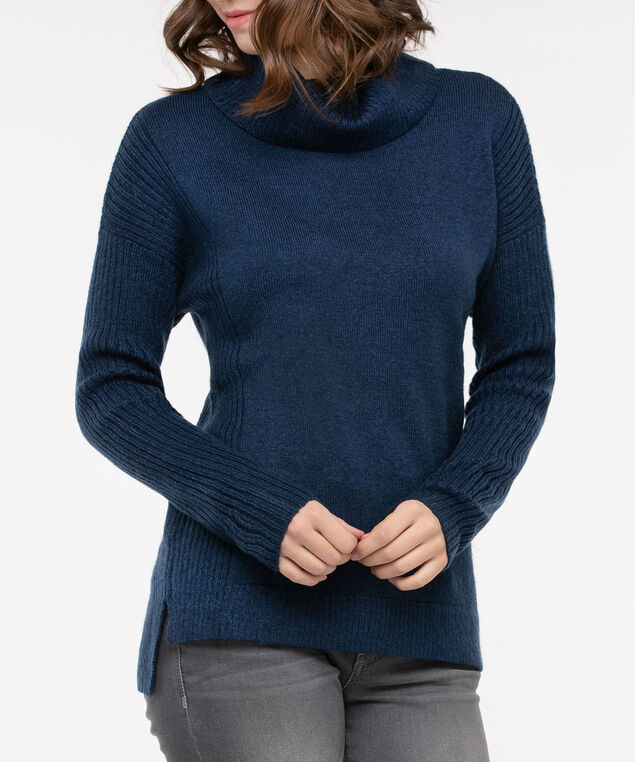 Ribbed Trim Cowl Neck Sweater, Midnight Blue, hi-res