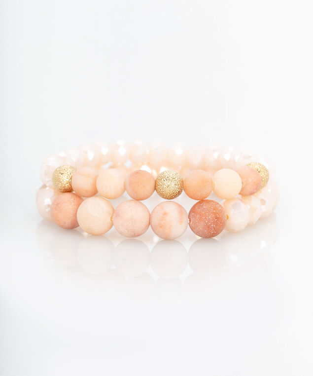 Faceted Stone & Sanded Bead Bracelet, Rose Petal/Gold, hi-res