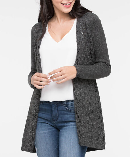 Lace Up Back Open Cardigan, Heather Charcoal, hi-res