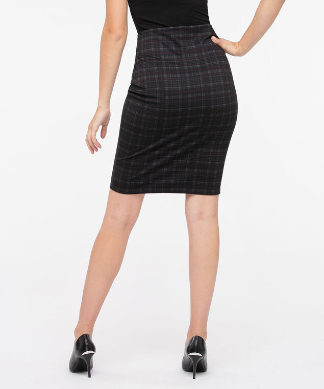 Plaid Ponte Pencil Skirt, Charcoal/Cherry/Black, hi-res