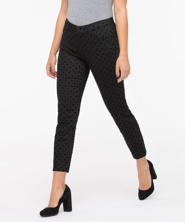 Democracy Flocked Dot High Rise Skinny, Black/Black, hi-res