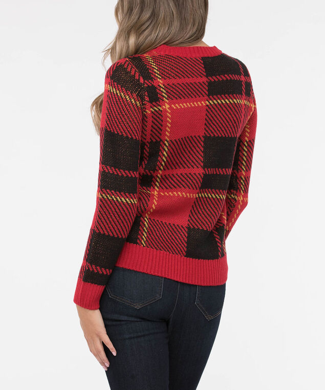 Plaid Pullover Sweater, Crimson/Black/Marigold, hi-res