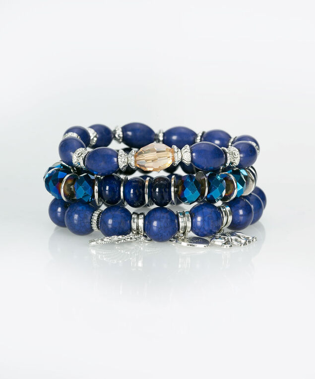 Stacked Beaded Charm Bracelet, Heathered Navy, hi-res