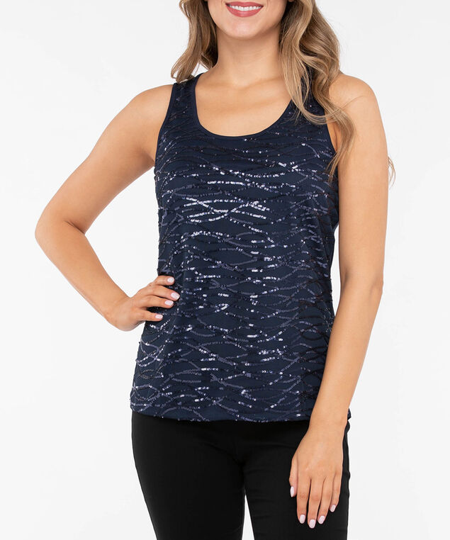 Sleeveless Sequin Pattern Top, True Navy, hi-res