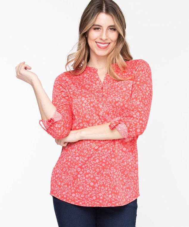 Floral Patterned Henley Tunic, Rouge Red