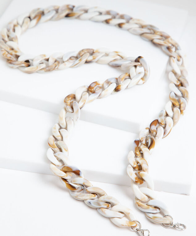 Large Marbled Resin Mask Chain, Ivory/Brown