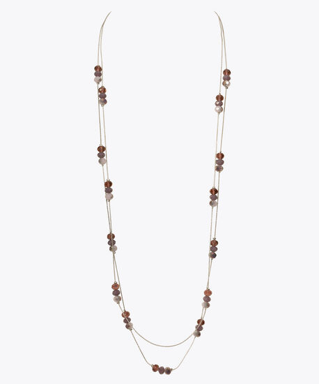 Faceted Stone Double Strand Necklace, Purple/Iced Violet/Rhodium, hi-res