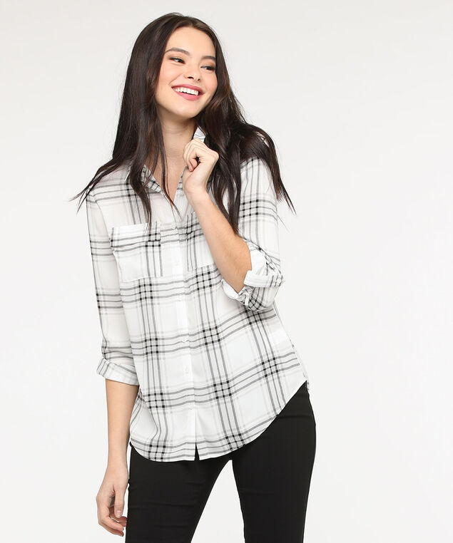 Button Front Collared Blouse, Pearl/Black/Grey, hi-res