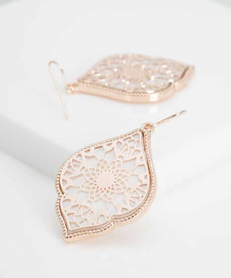 Filigree Medallion Earring, Rose Gold/Pearl, hi-res