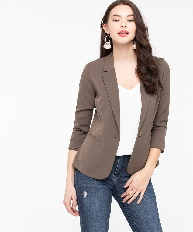 Single Button Notch Collar Blazer, Praline, hi-res
