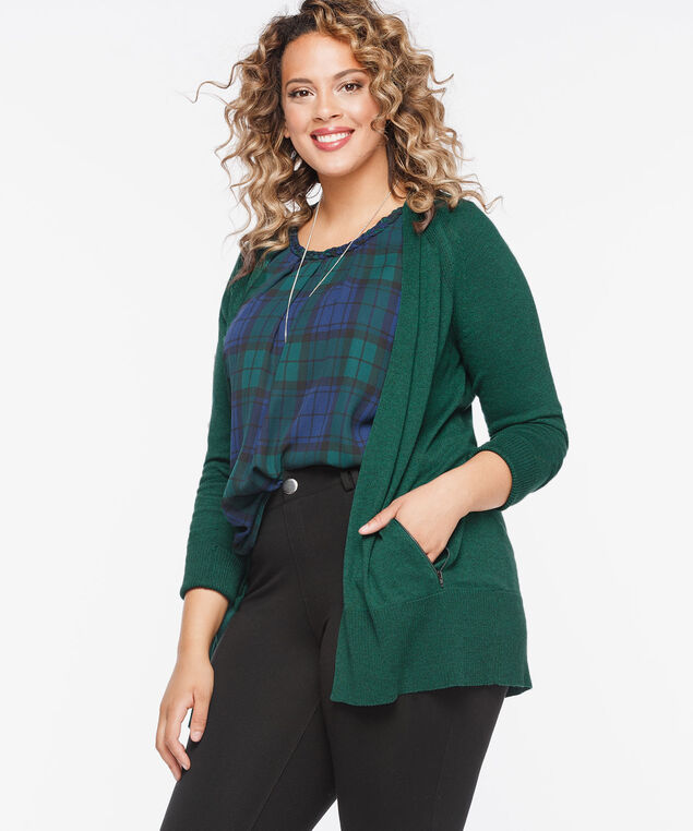 Zipper Pocket Open Cardigan, Deep Green, hi-res