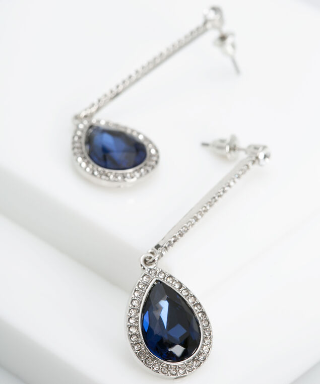 Pave Crystal & Faceted Stone Earring, Deep Sapphire/Rhodium, hi-res