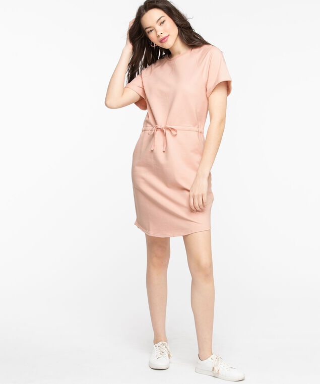 French Terry Crew Neck Dress, Rose Smoke