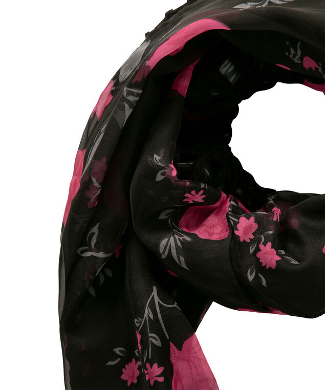 Floral Woven-Knit Eternity Scarf, Black/Hot Pink/Grey, hi-res
