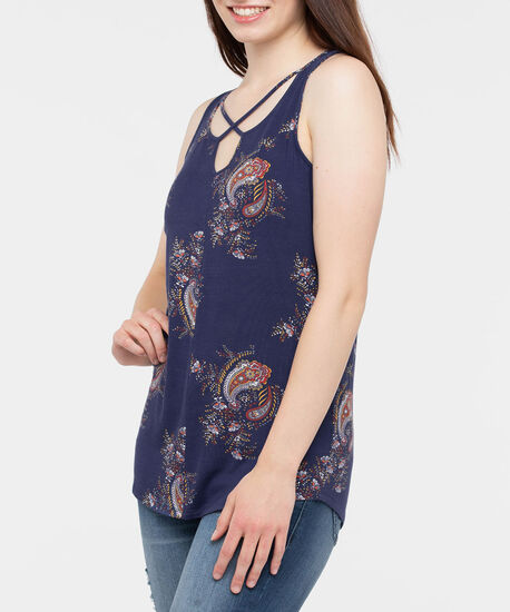 Sleeveless Criss Cross Paisley Top, Deep Sapphire/Rust/Marigold, hi-res