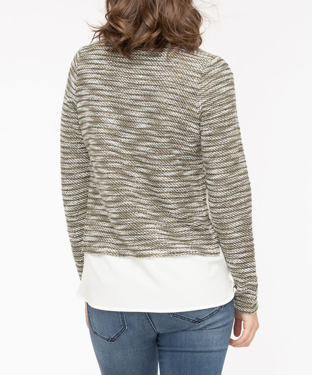 Pullover Button Trim Fooler Top, Autumn Olive/Pearl, hi-res