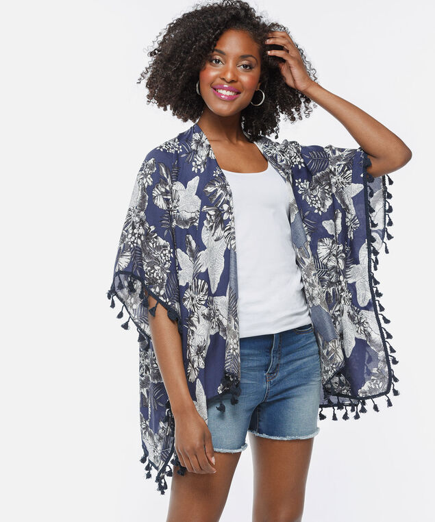 Tropical Flower & Tassel Ruana, Summer Navy/True White, hi-res