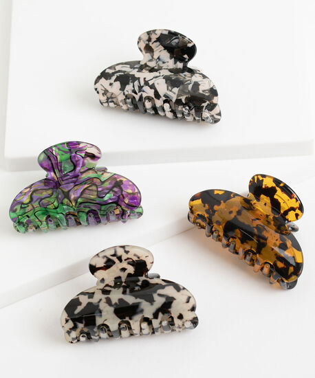 Small Claw Clip 4-Pack, Brown/Amber/White/Black/Green/Purple, hi-res