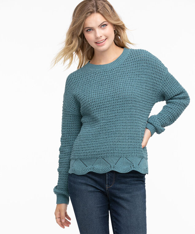 Waffle Stitch Pullover Sweater, Tapestry