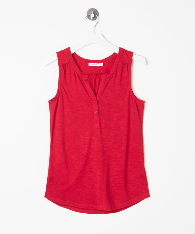 Sleeveless Henley Top, Hibiscus, hi-res