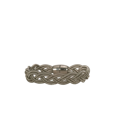 Braided Metal Bracelet, Rhodium, hi-res