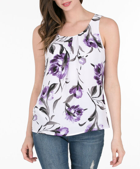 Pleat Front Sleeveless Blouse, Purple/White, hi-res