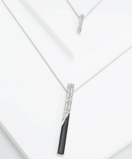 Crystal Linear Bar Pendant Necklace, Rhodium/Black, hi-res