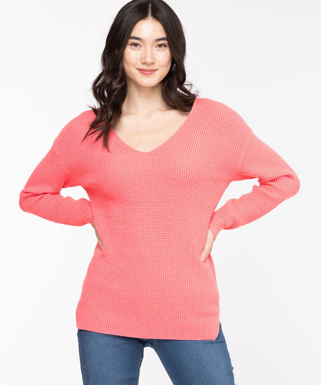 Waffle Stitch V-Neck Pullover, Morning Glory, hi-res