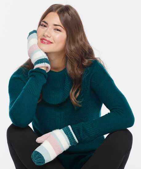 Striped Chenille Mitten, Dusty Blush/Pearl/Teal, hi-res
