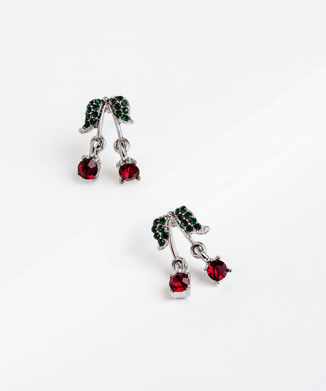Dangly Cherry Earring, Silver, hi-res