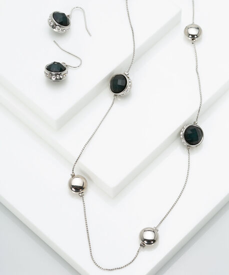 Stationed Faceted Stone Necklace Set, Deep Green/Rhodium, hi-res
