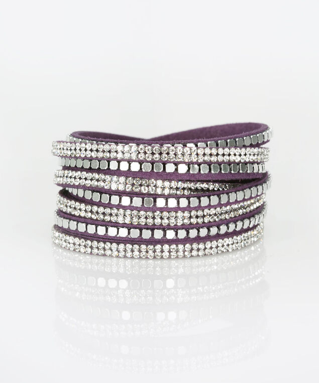 Faux Suede & Crystal Wrap Bracelet, Deep Purple, hi-res