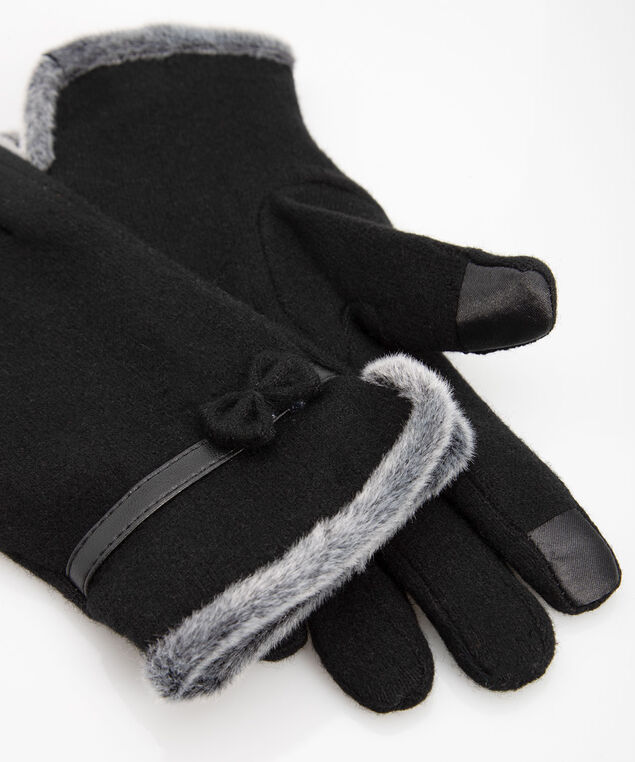 Bow Texting Gloves, Black, hi-res