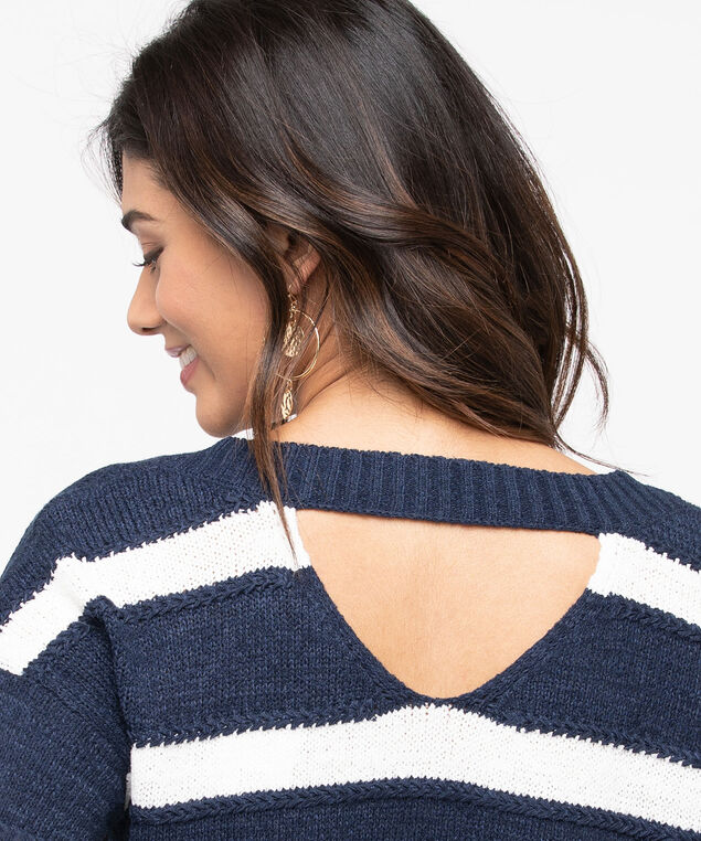 Double-V Pullover Sweater, Pearl/Summer Navy, hi-res