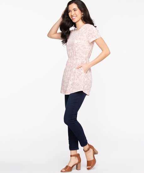 Short Sleeve Scoop Neck Tunic, Rose Smoke Floral, hi-res