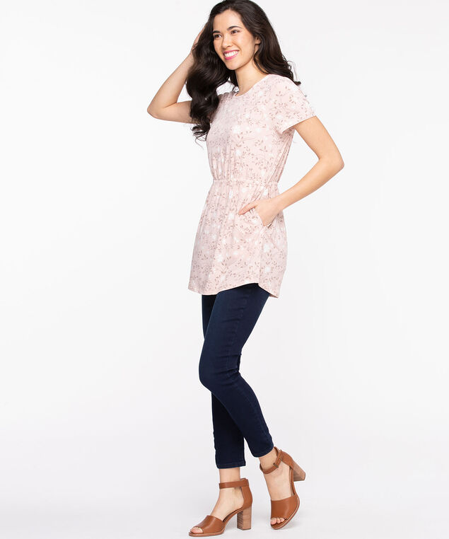 Short Sleeve Scoop Neck Tunic, Rose Smoke Floral