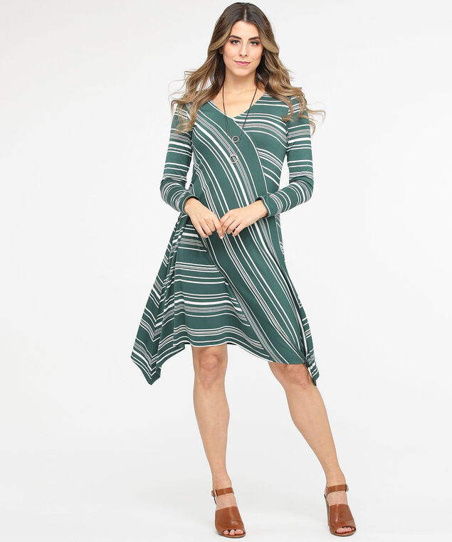 Striped Sharkbite Hem Swing Dress, Basil/Pearl, hi-res