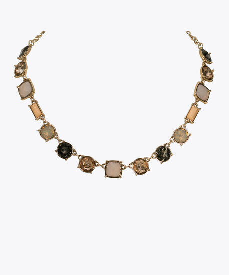 Faceted Stone Mini Statement Necklace, Coral/Blush/Gold, hi-res