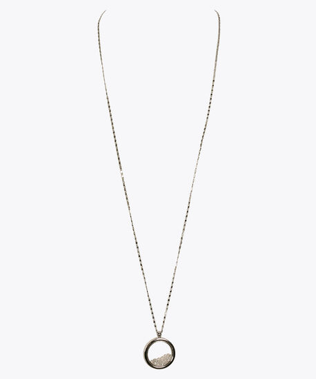 Caged Crystal Pendant Necklace, Rhodium/Clear Crystal, hi-res