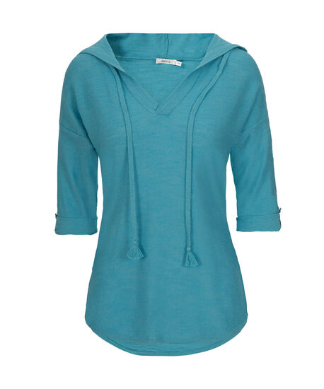 Roll Cuff Hooded Slub Pullover, Aqua, hi-res