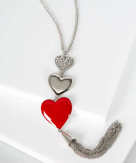 Crystal & Epoxy Heart Pendant Necklace, Rhodium/Crimson, hi-res