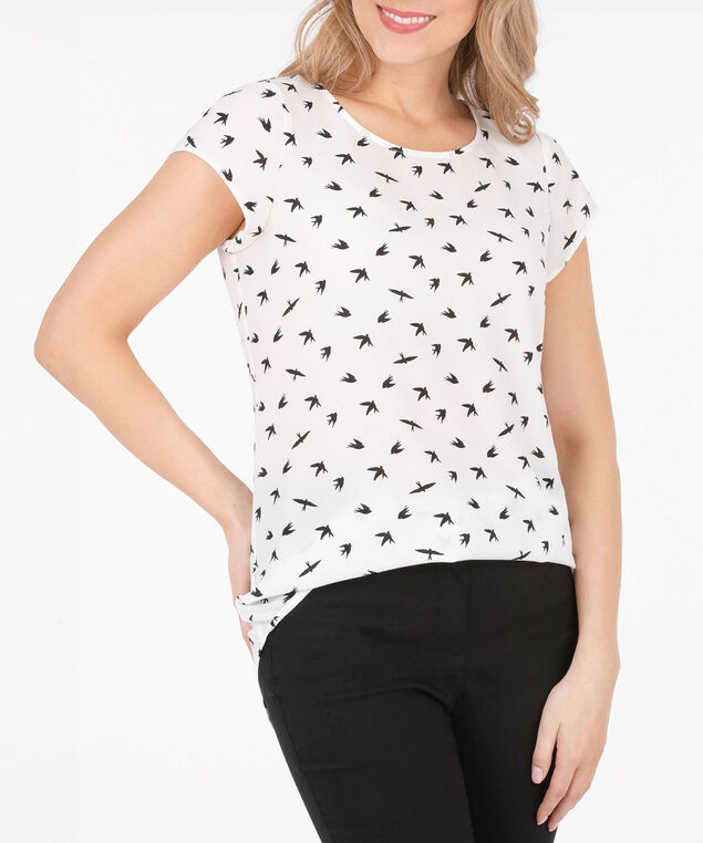 Button Back Tulip Sleeve Blouse, White/Black, hi-res