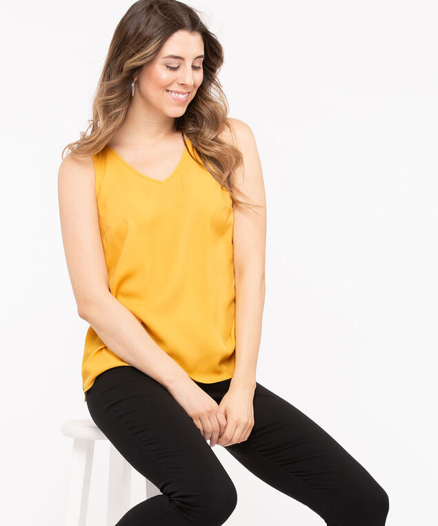 Double-V Woven Layering Cami, Gold, hi-res